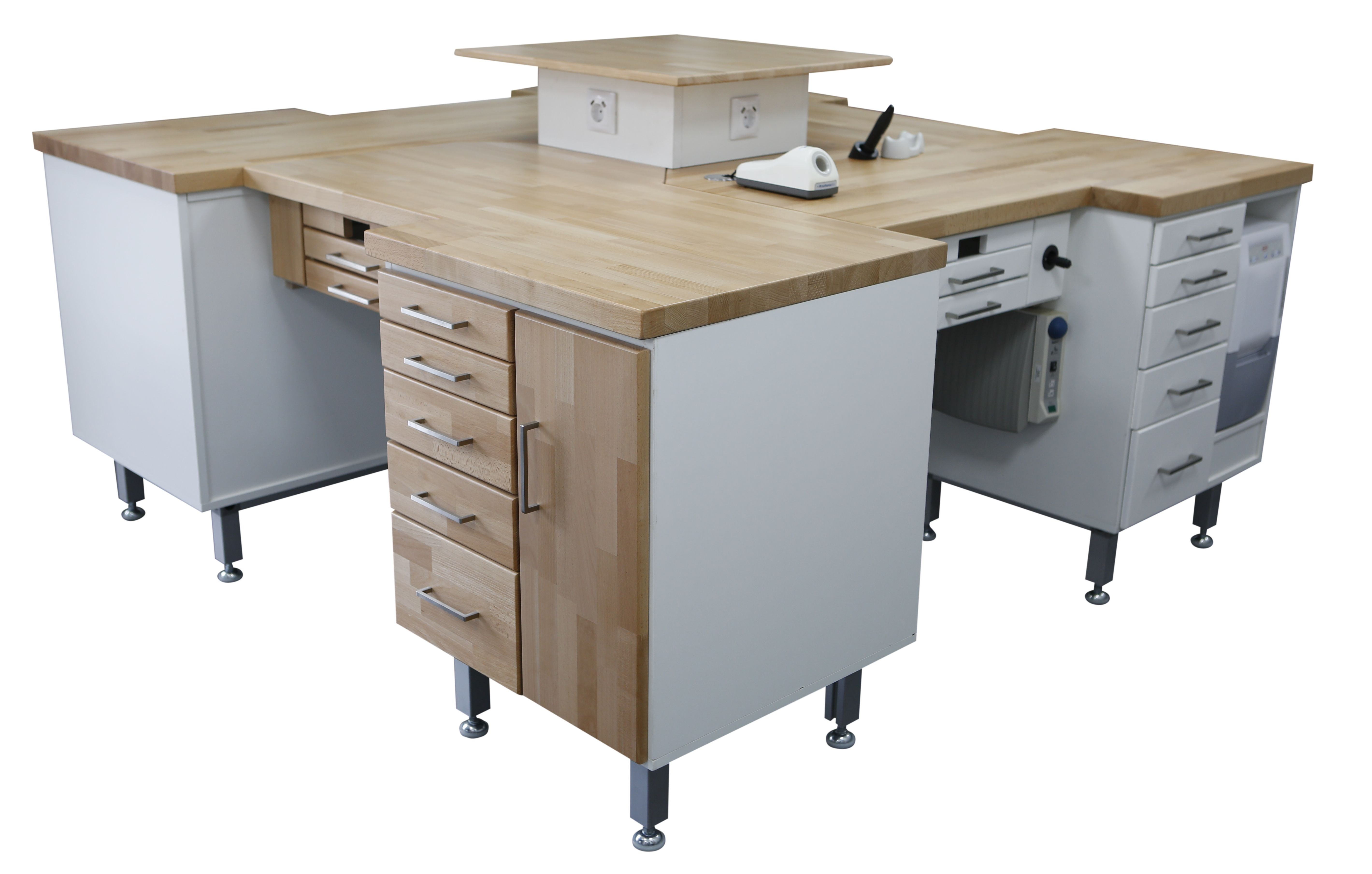 4er Labortisch / 4´er Insel / Labor Insel - Hausmarke - neu - Holzdekor