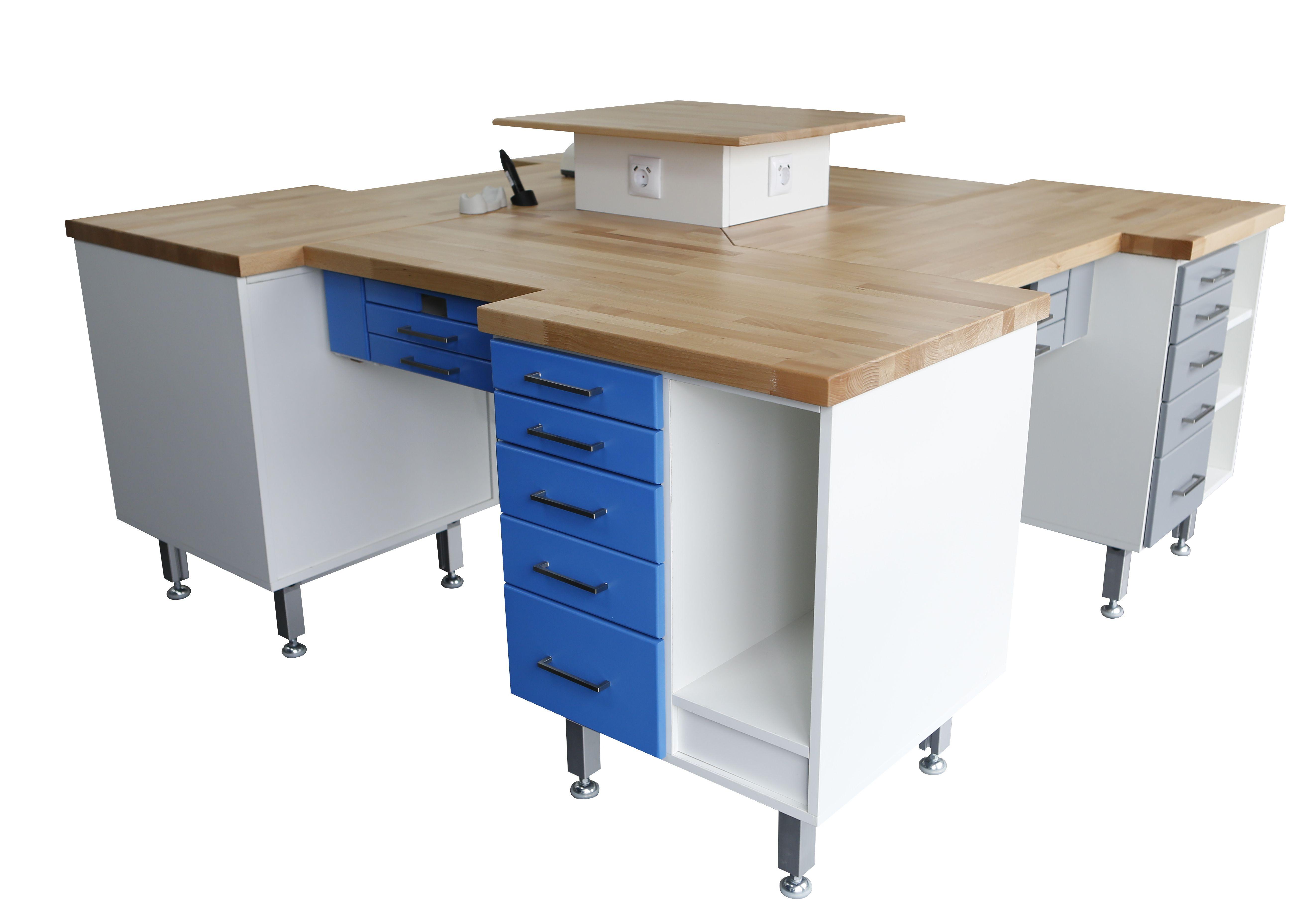 4er Labortisch / 4´er Insel / Labor Insel - Hausmarke - neu - blau