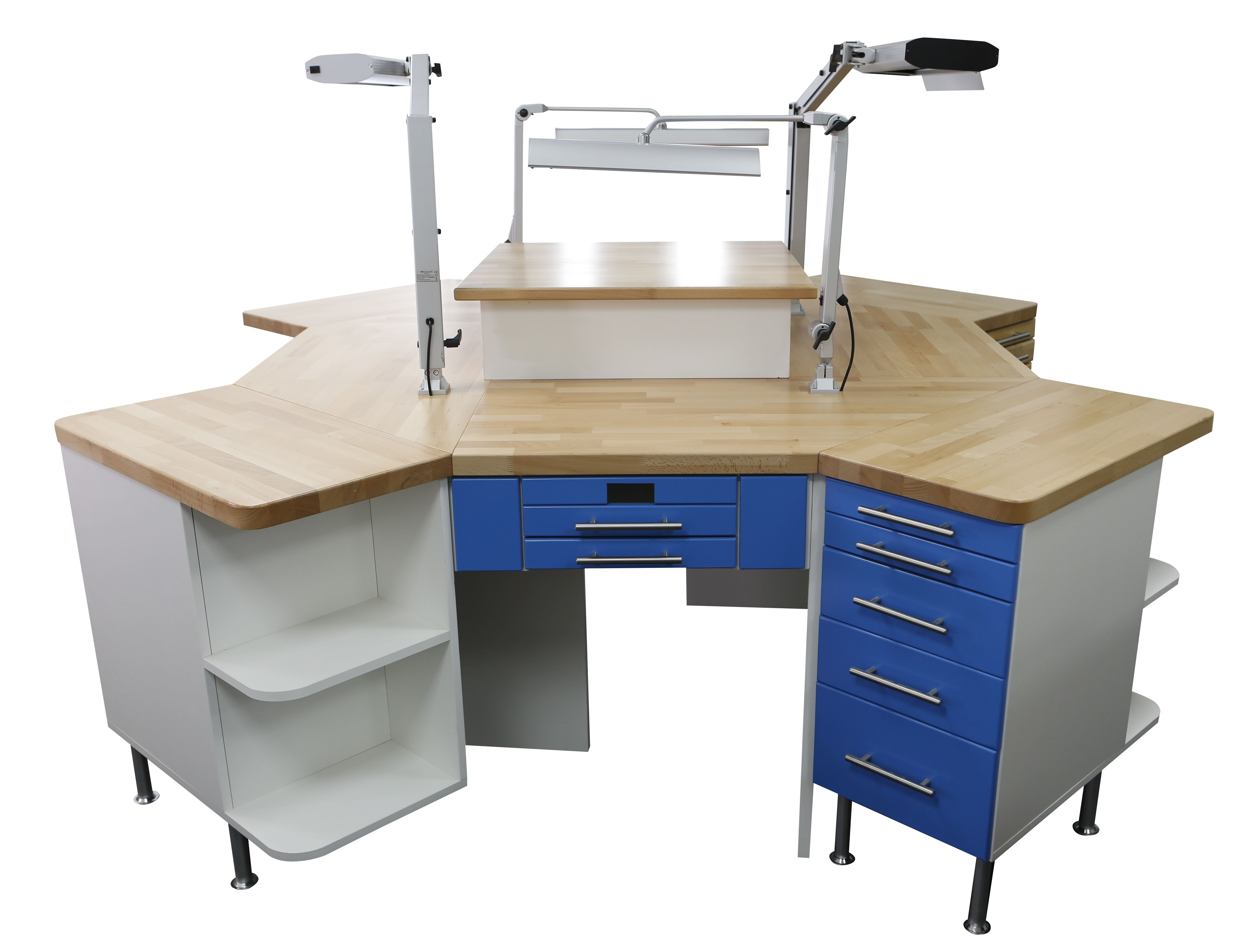 4er Labortisch / 4´er Insel / Labor Insel - Hausmarke - neu - blaues Dekor