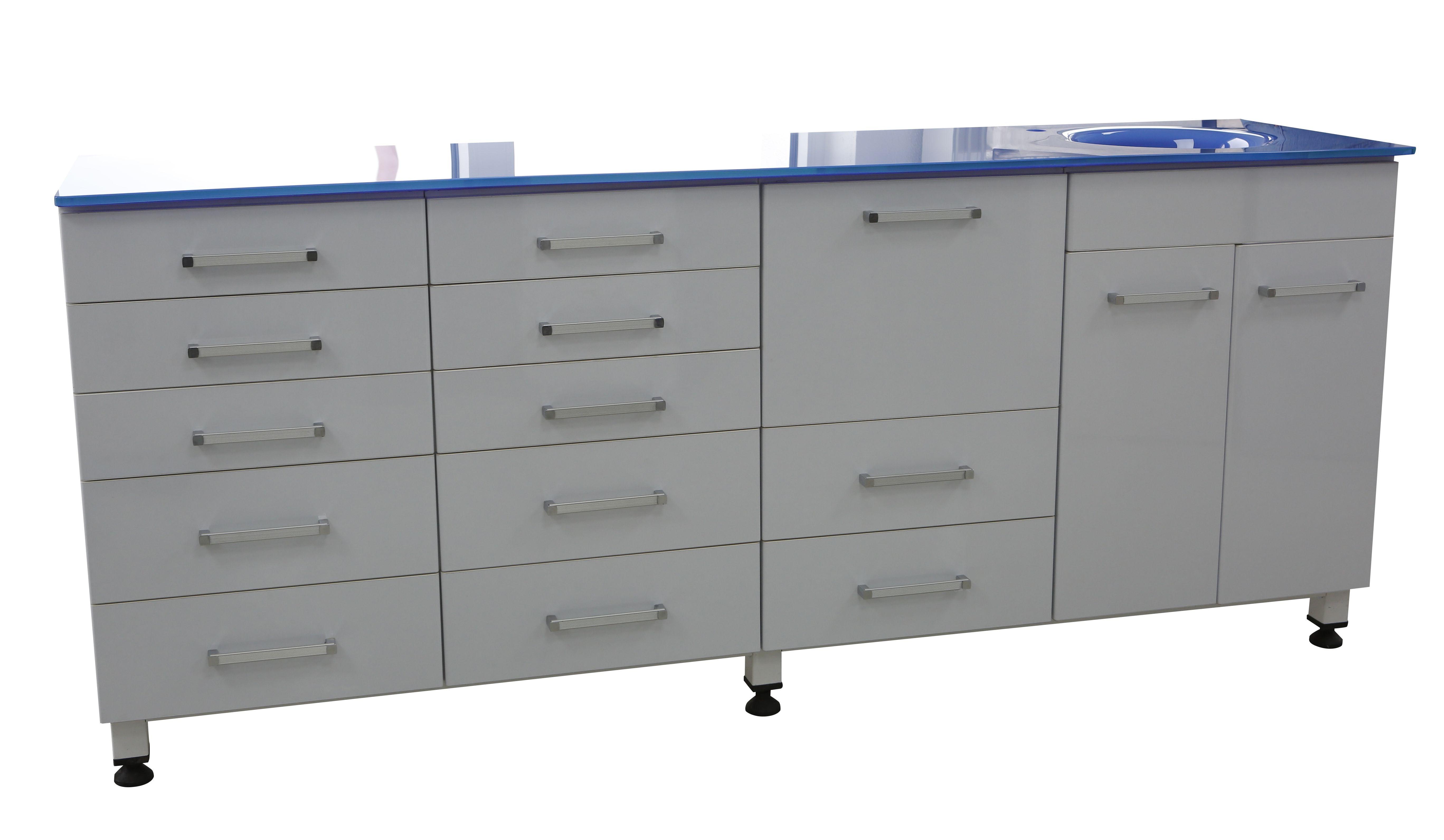 Behandlungszeile / Instrumentenschrank / Schrankzeile + Waschbecken - neu